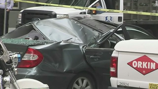 Window washer falls 10 stories onto car