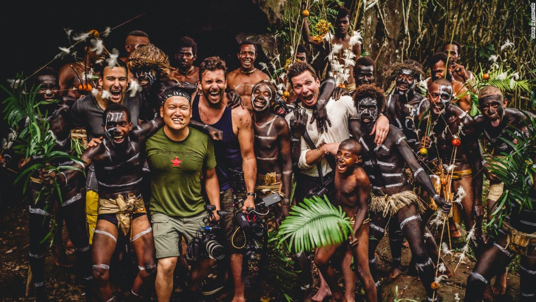 """The Wonder List"" crew is seen with villagers on the island of Rah, near Mota Lava, Vanuatu, shortly after a display of their famous ""snake dance."" From left: Julian Quinones, Cassius Kim, Philip Bloom and Bill Weir."