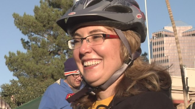 Gabby Giffords rides in 11-mile bike race