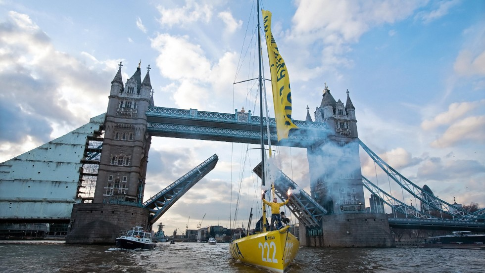 And she traveled the planet in the other direction in the Vendee Globe in 2008/9 before her official homecoming in London.