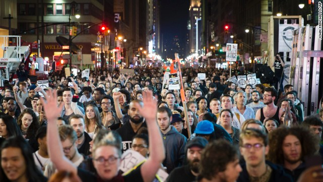 Protestors march toward Times Square after the grand jury's decision was announced.