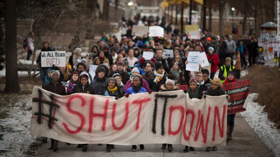 Students rally in support of victims of police brutality at the University of Minnesota in Minneapolis on November 25.