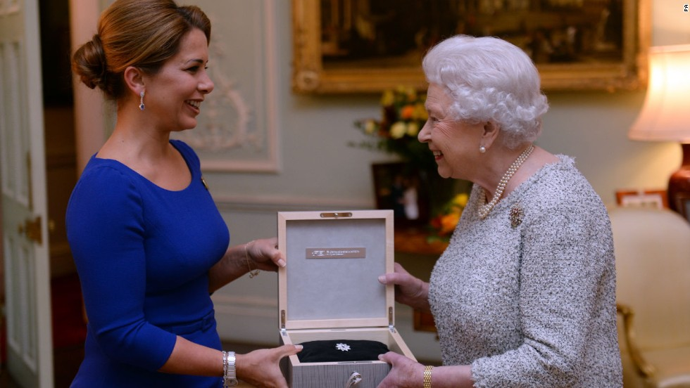 Princess Haya (left), president of the International Equestrian Federation, presented the Queen with the federation's inaugural lifetime achievement award in November 2014.