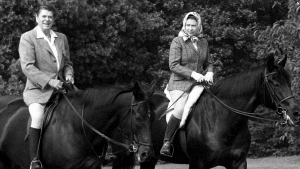 When U.S. President Ronald Reagan came to visit, he and the Queen rode together in Home Park, Windsor.