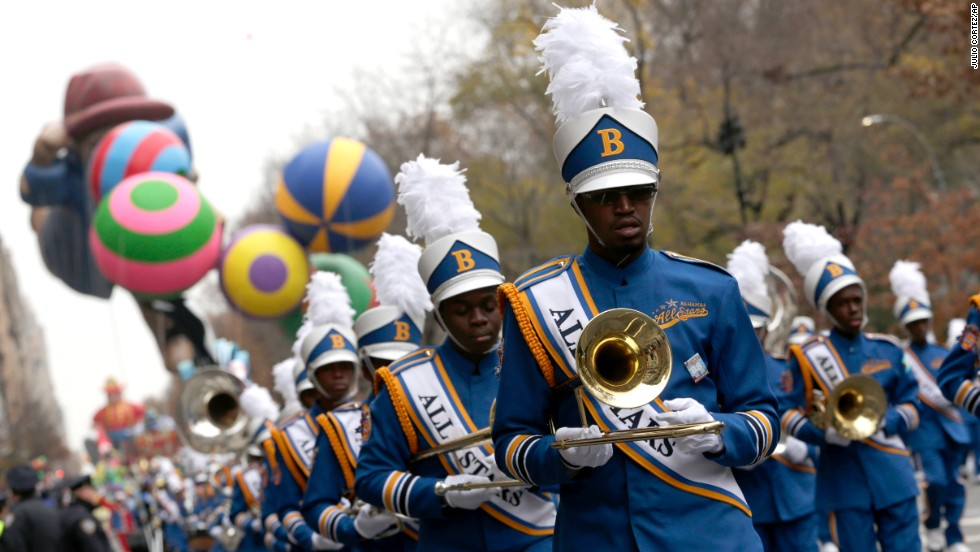 Members of the Bahamas All-Stars Marching Band perform.