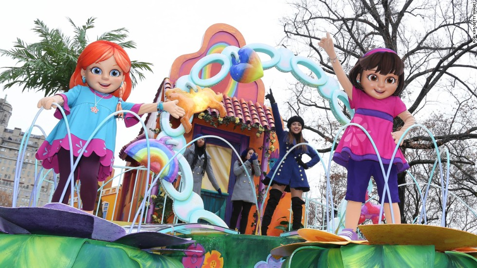 Singer Becky G performs on Nickelodeon's Dora and Friends float.