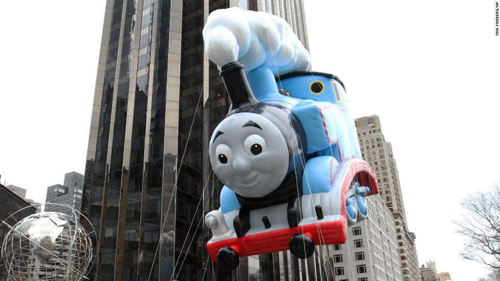 Thomas the Tank Engine makes its way towards Central Park South.