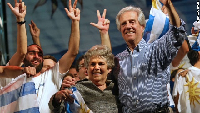 The presidential candidate for the Frente Amplio (Broad Front) party and former president (2005-2010), Tabare Vazquez (R), celebrates with his wife Maria Auxiliadora Delgado after general elections in Montevideo on October 26, 2014. Leftist former president Tabare Vazquez and his center-right rival Luis Lacalle Pou will head into a November 30 runoff after Sunday's presidential vote failed to give a clear winner, exit polls showed. AFP PHOTO / Pablo BielliPABLO BIELLI/AFP/Getty Images