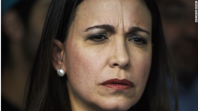 Venezuelan opposition leader Maria Corina Machado talks during a press conference in Caracas on November 27, 2014. Machado, accussed of taking part in an alleged plot to assassinate Venezuelan President Nicolas Maduro, said that next December 3 she will attend a request from the Public Prosecutor (OTP) to answer the accusations. AFP PHOTO/JUAN BARRETOJUAN BARRETO/AFP/Getty Images