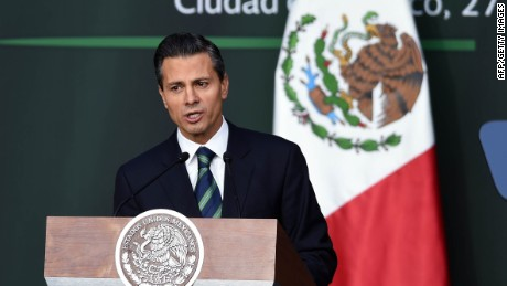 Mexican President Enrique Pena Nieto talks during his message about the new program against corruption and new order in the Police, at the Palacio Nacional in Mexico City, on November 27, 2014. AFP PHOTO/Alfredo ESTRELLAALFREDO ESTRELLA/AFP/Getty Images