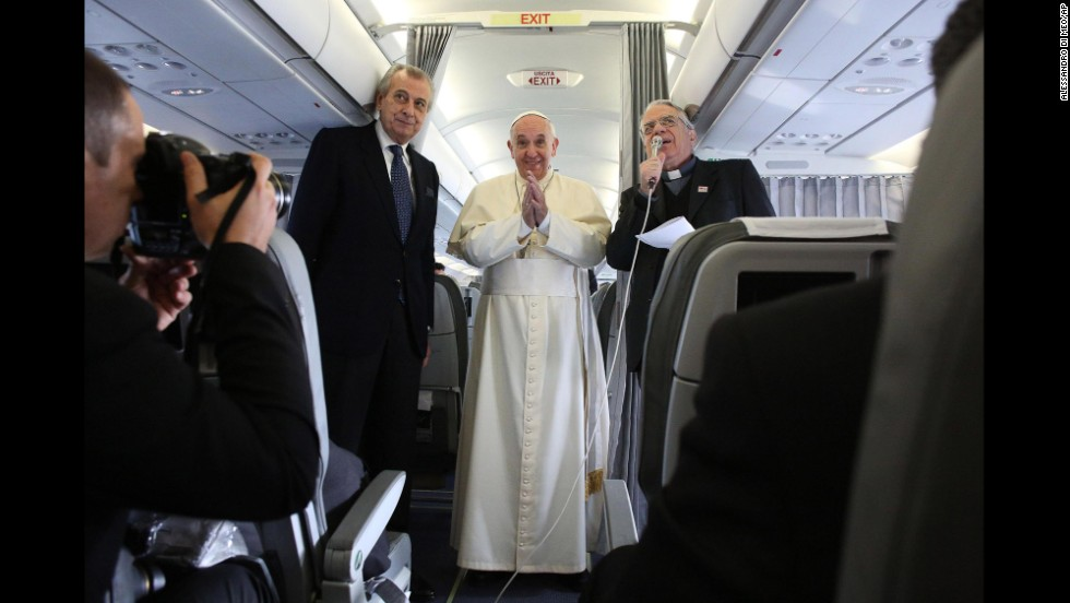 The Pope holds a press conference aboard his flight to Ankara on November 28.