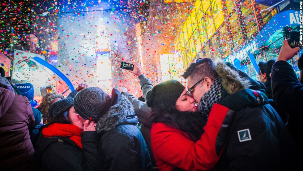 <strong>January 1:</strong> Couples kiss in New York's Times Square to ring in the new year.
