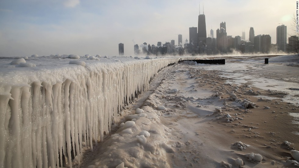 <strong>January 6:</strong> Ice builds up along Lake Michigan at Chicago's North Avenue Beach. Chicago hit a low temperature of 16 below zero.