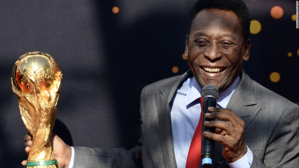 "Ask many Brazilians who is the greatest footballer of all time and their answer will be simple: ""Pele."" The striker, pictured here in 2014, won three World Cups with Brazil between 1958 and 1970."