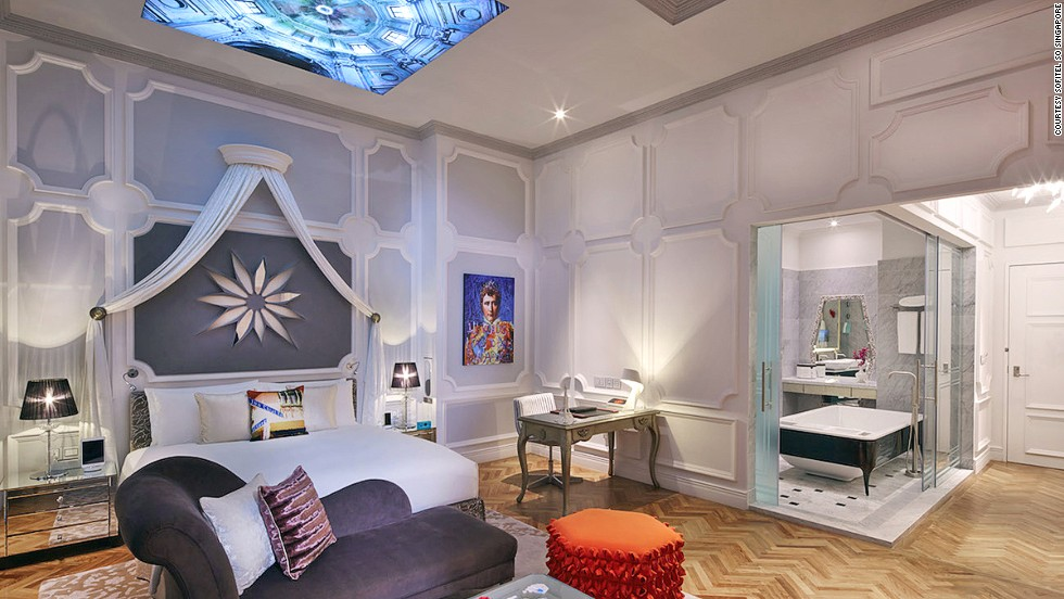 Sofitel So Singapore offers a refreshing splash of textures and colors. Karl Lagerfeld designed elements of the hotel and each room is fitted with iPad minis and iPhones.