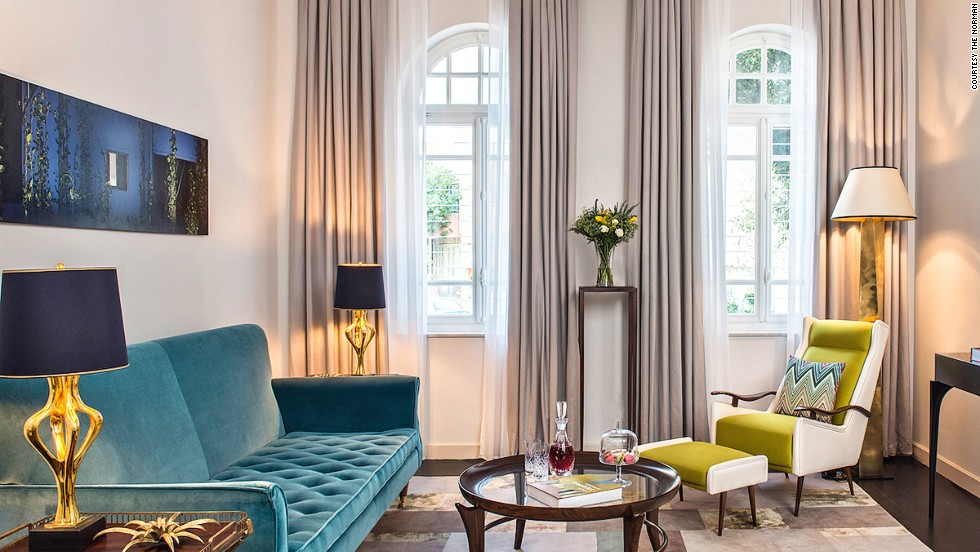 The Norman makes good use of Tel Aviv, Israel's celebrated Bauhaus architecture. In this case, two buildings decked out in classic furnishing with splashes of punchy colors.