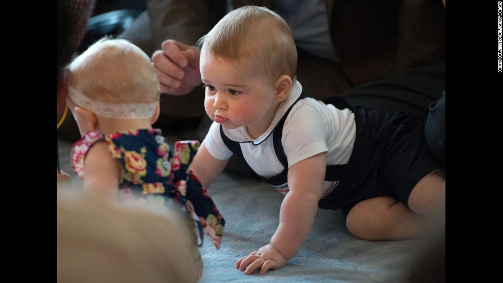 "<strong>April 9:</strong> Britain's Prince George looks at other babies during an event at the Government House in Wellington, New Zealand. His parents, the Duke and Duchess of Cambridge, were on <a href=""http://www.cnn.com/2014/04/06/world/gallery/royal-tour-new-zealand-australia/index.html"">a three-week tour</a> of New Zealand and Australia. <a href=""http://www.cnn.com/2014/07/11/world/gallery/prince-george-first-year/"">See Prince George's first year in pictures</a>"