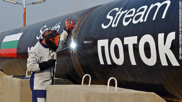 """This picture taken on October 31, 2013, shows a worker welding pipes during the symbolic start of the construction of the Bulgarian section of Russian gas giant Gazprom's South Stream pipeline near the village of Rasovo. Russia's EU envoy on June 9 slammed Bulgaria's decision to suspend work on a Kremlin-backed South Stream gas pipeline under pressure from Brussels, calling it a """"creeping shift to economic sanctions against Russia"""". AFP PHOTO / BULPHOTO / M3 COMMUNICATIONS GROUP   == RESTRICTED TO EDITORIAL USE - MANDATORY CREDIT """"AFP PHOTO / BULPHOTO / M3 COMMUNICATIONS GROUP"""" - NO MARKETING NO ADVERTISING CAMPAIGNS - DISTRIBUTED AS A SERVICE TO CLIENTS ==-/AFP/Getty Images"""