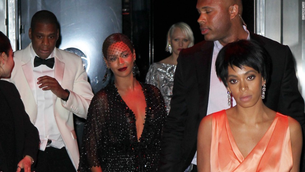 "<strong>May 5:</strong> Rapper Jay Z, at left in the white jacket, and his sister-in-law Solange Knowles, at right in the orange dress, reportedly had an altercation at New York's Standard Hotel. Security camera footage that appeared on TMZ didn't tell the whole story, but there are <a href=""http://www.cnn.com/2014/05/13/showbiz/gallery/jay-z-solange-beyonce/index.html"">plenty of pictures of the two leaving the party</a> along with Jay Z's wife, Beyonce."