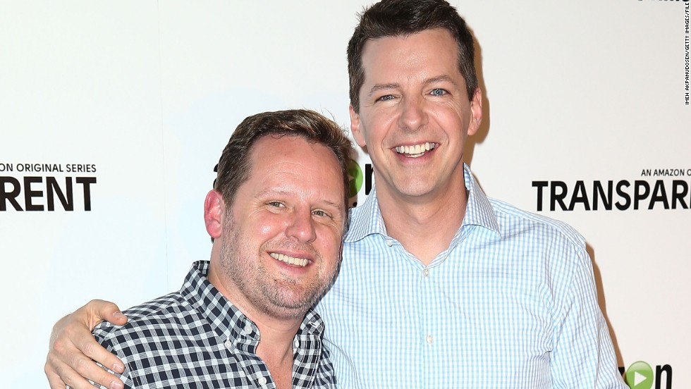 "In November 2014, ""Will and Grace"" star Sean Hayes, right, tied the knot with music producer Scott Icenogle. ""Here's a ‪#‎TBT‬ photo of Scotty and me getting married last week,"" <a href=""https://www.facebook.com/235697306486594/photos/a.235717159817942.57945.235697306486594/789737024415950/?type=1"" target=""_blank"">Hayes shared on Facebook</a>. ""Took us 8 years but we did it!"""