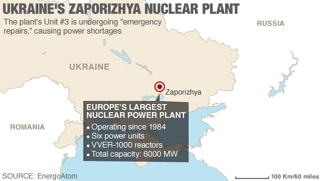 The country's energy minister said Wednesday that no one is in danger of radiation from the plant in southeastern Ukraine.