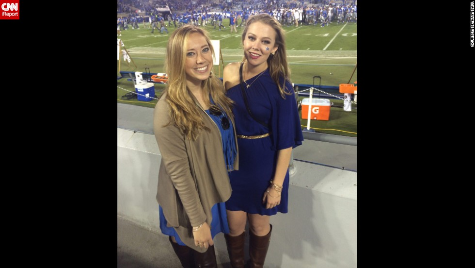 "University of Kentucky senior <a href=""http://ireport.cnn.com/docs/DOC-1191653"">Bethany Ball</a>, right, poses with a friend at the school's homecoming game. A huge game day style no-no for Ball is wearing two different prints. ""It can be overwhelming and clash,"" she said."