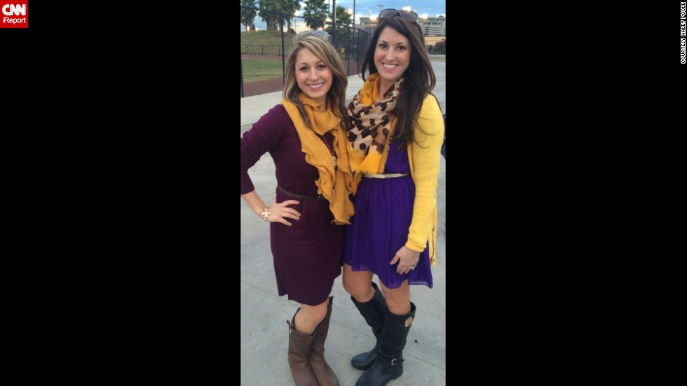 "Accessories like scarfs, belts, and jewelry should coordinate ""but not be too matchy matchy,"" said Louisiana State University fan <a href=""http://ireport.cnn.com/docs/DOC-1188011"">Haley Poole</a>, right. ""The outfit should also still be functional off campus -- if you feel like you stick out amongst people who are not going to the game, it's too much."""