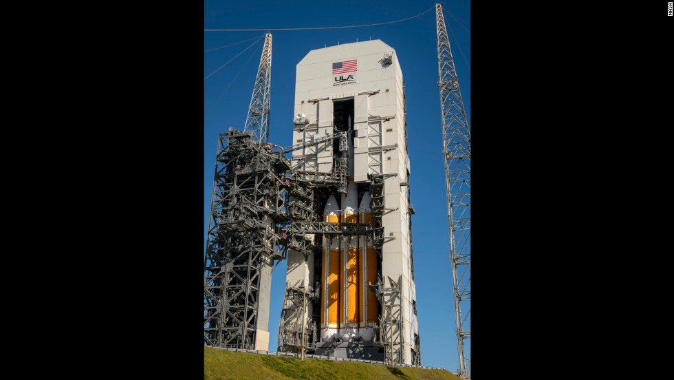 Orion sits on the launchpad at Cape Canaveral  after being stacked on the rocket. Orion will take crews farther from Earth than any spacecraft since Apollo.