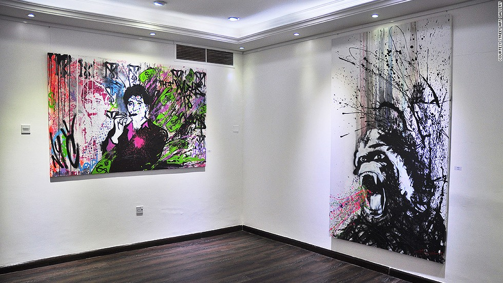 "New Yorker Skott Marsi displayed his solo show ""Pollock Like Banksy"" at Street Art Gallery last month. Can you guess which two famous artists he took inspiration from?"
