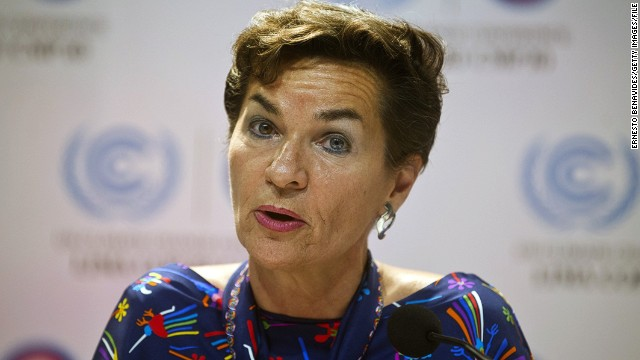 UNFCCC Executive Secretary, Christina Figueres, speaks during a press conference at the COP20 in Lima, Peru.