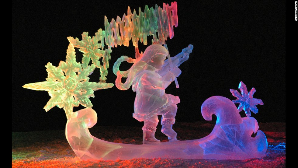 Watch ice become even more stunning than usual as Christmas in Ice's festive ice sculptures are brightened with colorful lights in North Pole, Alaska.