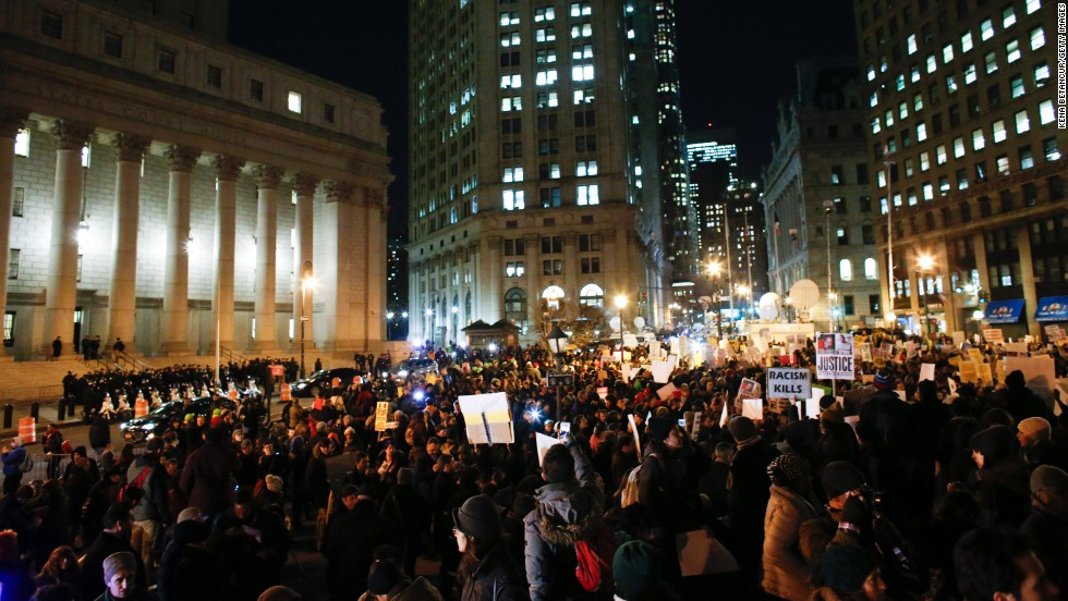 Demonstrators gather in New York's Foley Square on December 4.