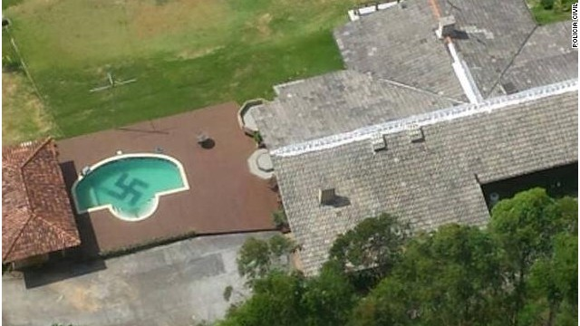 Police helicopter spots swastika in the bottom of a pool in Brazil