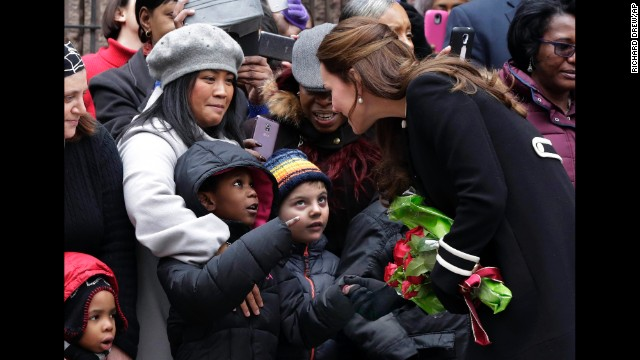 Catherine, Duchess of Cambridge, greets children and parents outside the Northside Center in New York on Monday, December 8.