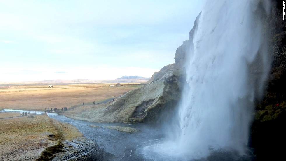 Beneath Eyjafjallajokull volcano, the waterfall at Seljalandfoss is a 60-meter curtain of icy cascading water that it's possible to walk behind.