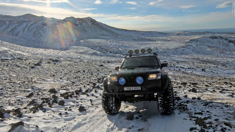 The 4x4's giant wheels come into their own on the snow-covered slopes of Eyjafjallajokull volcano.
