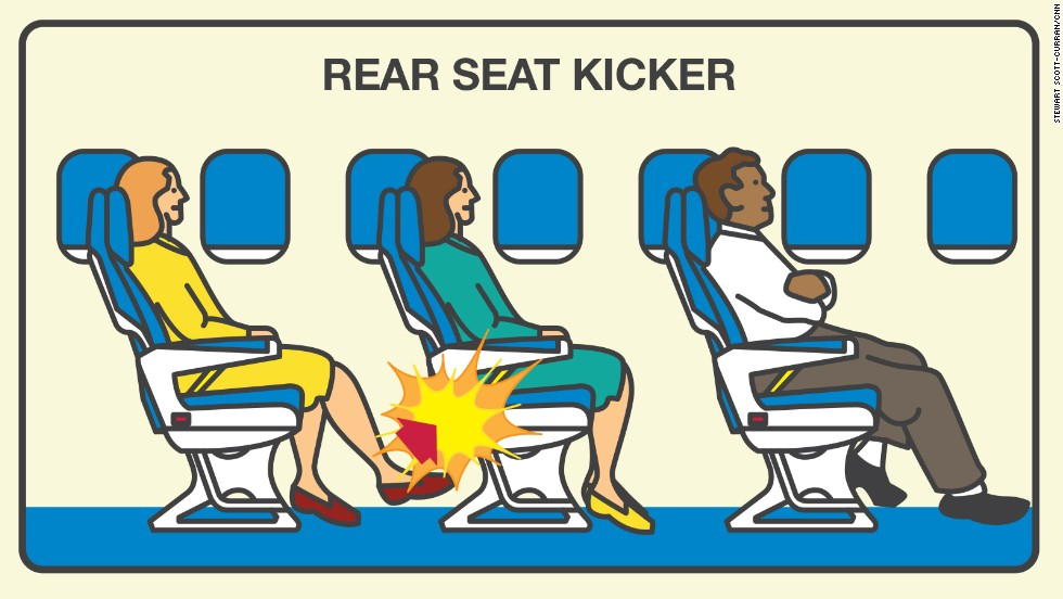 Passengers who use their feet as weapons topped Expedia's list of onboard etiquette violators in its latest Airplane Etiquette Study. Rear seat-kickers are aggravating to 64% of respondents.