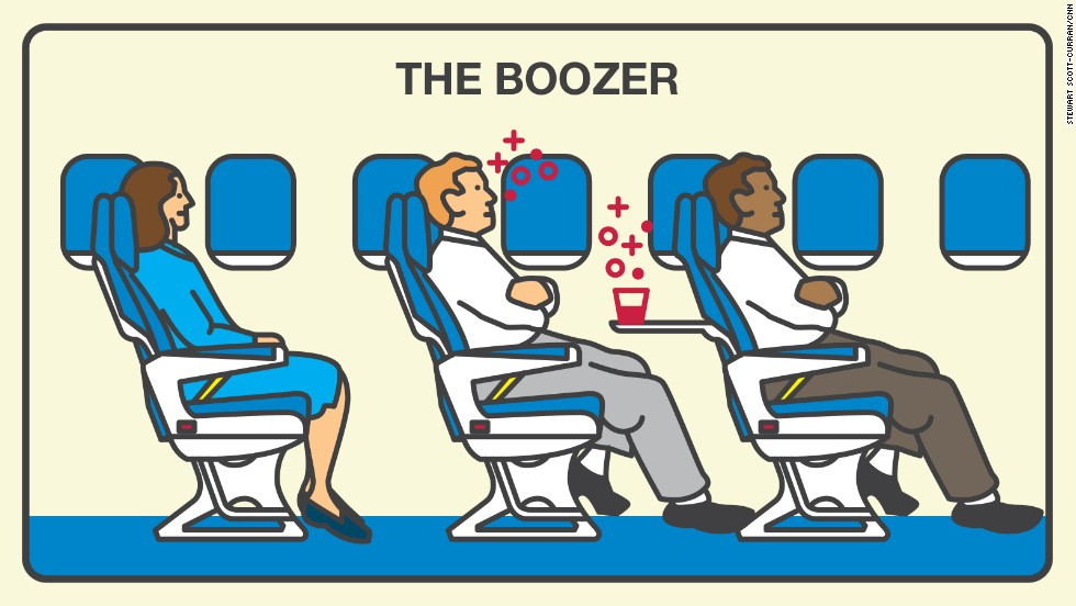 If you can't remember your flight, you might be a boozer. Boozers are unpleasant to 49% of surveyed fliers.