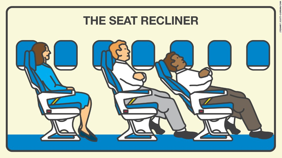 The seat-back guy, aka the seat recliner, doesn't care about the impact of his recline on the people behind him. And 35% of fliers are annoyed.