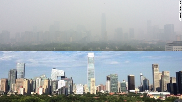 These views were taken from CNN's Beijing bureau on November 6, when the sky was blue during the APEC summit, and on November 19 when the smog returned.
