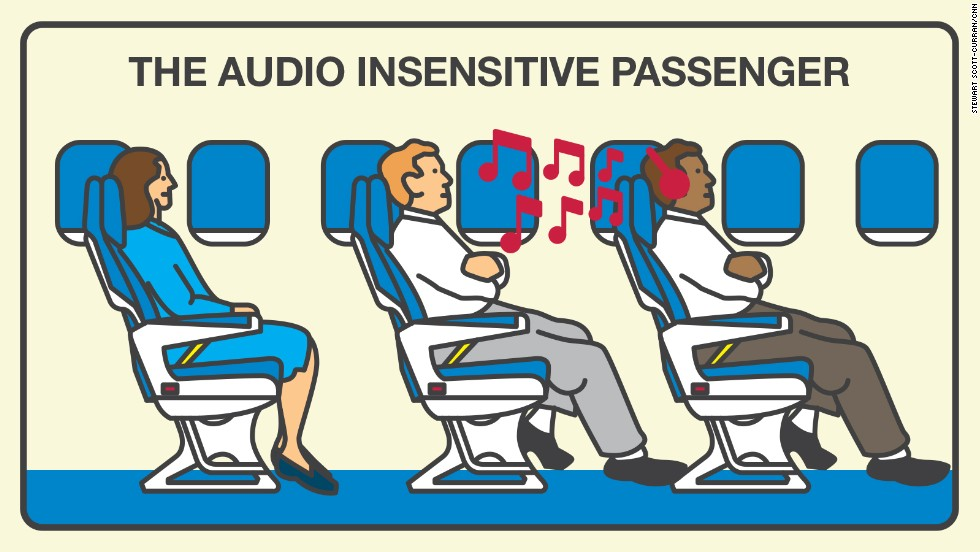 Passengers who talk, play games or listen to their favorite songs or shows at top volume aggravate nearly half of those surveyed.