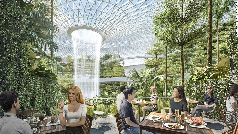 Changi's new leisure complex will have 90 food and drink outlets, some with waterfall view patios.