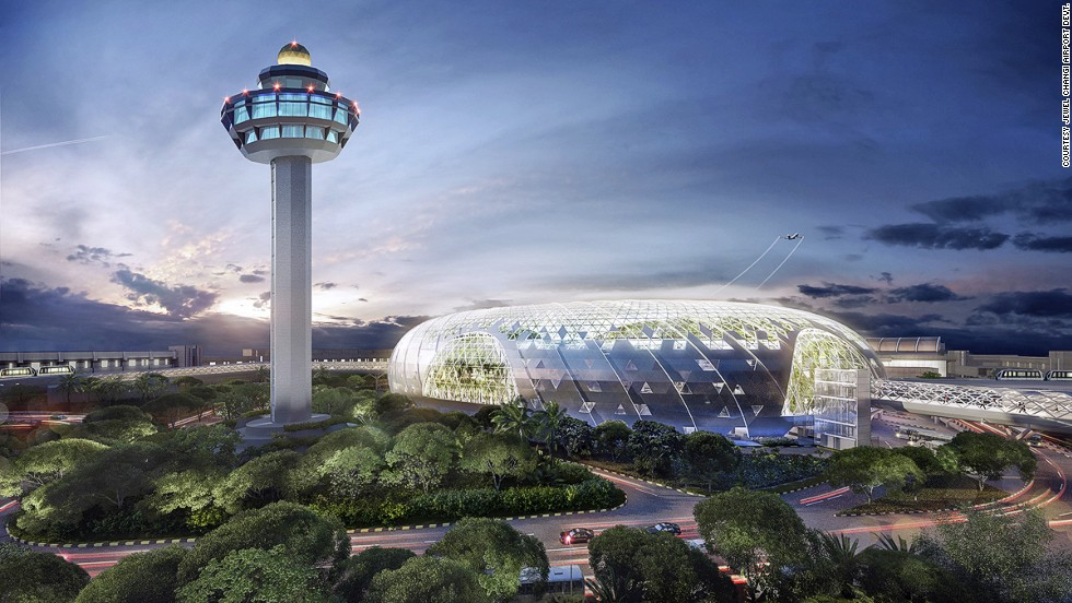 Singapore's Jewel Changi airport will have five stories of retail, gardens and restaurants, and a hotel with a five-story parking lot underground.