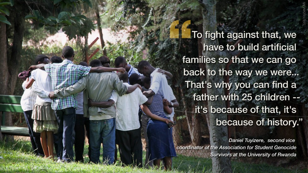 "Twenty years after the appalling violence that saw 800,000 Rwandan Tutsis die in the 1994 genocide, CNN met a group of<a href=""http://edition.cnn.com/2014/04/24/world/23-year-old-24-kids-rwanda/index.html"" target=""_blank""> young survivors in April</a> to discuss how they are coping with the scars left behind two decades on."