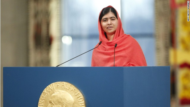 Nobel Peace Prize laureate Malala Yousafzai gives a speech during the Nobel Peace Prize awards ceremony at the City Hall in Oslo, Norway, on December 10, 2014. 17-year-old Pakistani girls' education activist Malala Yousafzai known as Malala shares the 2014 peace prize with the Indian campaigner Kailash Satyarthi, 60, who has fought for 35 years to free thousands of children from virtual slave labour. AFP PHOTO / NTB SCANPIX / CORNELIUS POPPE +++ NORWAY OUTCORNELIUS POPPE/AFP/Getty Images