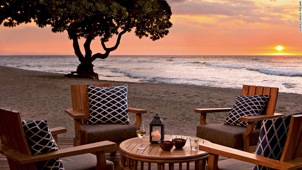 At Beach Tree Bar on Hawaii's Big Island, sunset cocktails sometimes mix with turtle watching. Best viewed with a signature limoncello-pear cocktail in hand.
