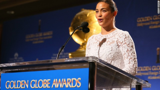 LOS ANGELES, CA - DECEMBER 11: Actress Paula Patton speaks onstage at the 72nd Annual Golden Globe Awards Nominations Announcement at The Beverly Hilton Hotel on December 11, 2014 in Los Angeles, California. (Photo by Mark Davis/Getty Images)
