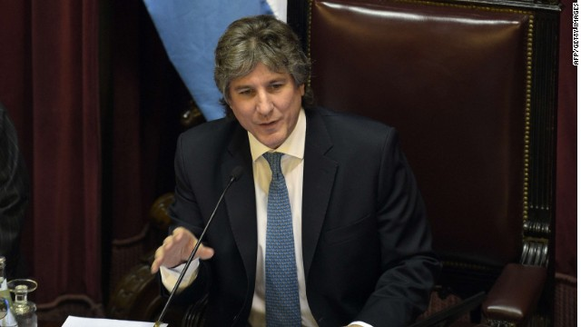 Argentine Vicepresident Amado Boudou chairs the session of the Senate of Argentina in Buenos Aires on September 3, 2014 when they discuss the approval of law projects submitted by Argentine President Cristina Fernandez de Krichner. Lawmakers in Buenos Aires considered a measure that would transfer Argentina's payments on its restructured debt to France, as the South American country grapples with continuing fallout from its 2001 default. A majority of lawmakers in Argentina's Senate expressed support for the bill, which would make France, as well as Buenos Aires, locations where Argentina's future restructured debt payments could be made, legislative sources told AFP. AFP PHOTO / DANIEL GARCIADANIEL GARCIA/AFP/Getty Images