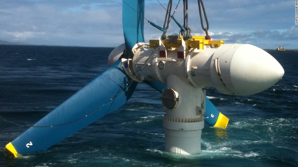 A turbine is lowered into place in water in the north of Scotland. The waters around the region of John O'Groats, at the nothernmost tip of the United Kingdom, produce powerful tidal surges twice a day.