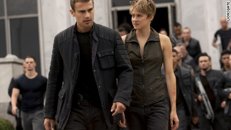 "Theo James and Shailene Woodley appear in ""Insurgent,"" the second in the ""Divergent"" series."